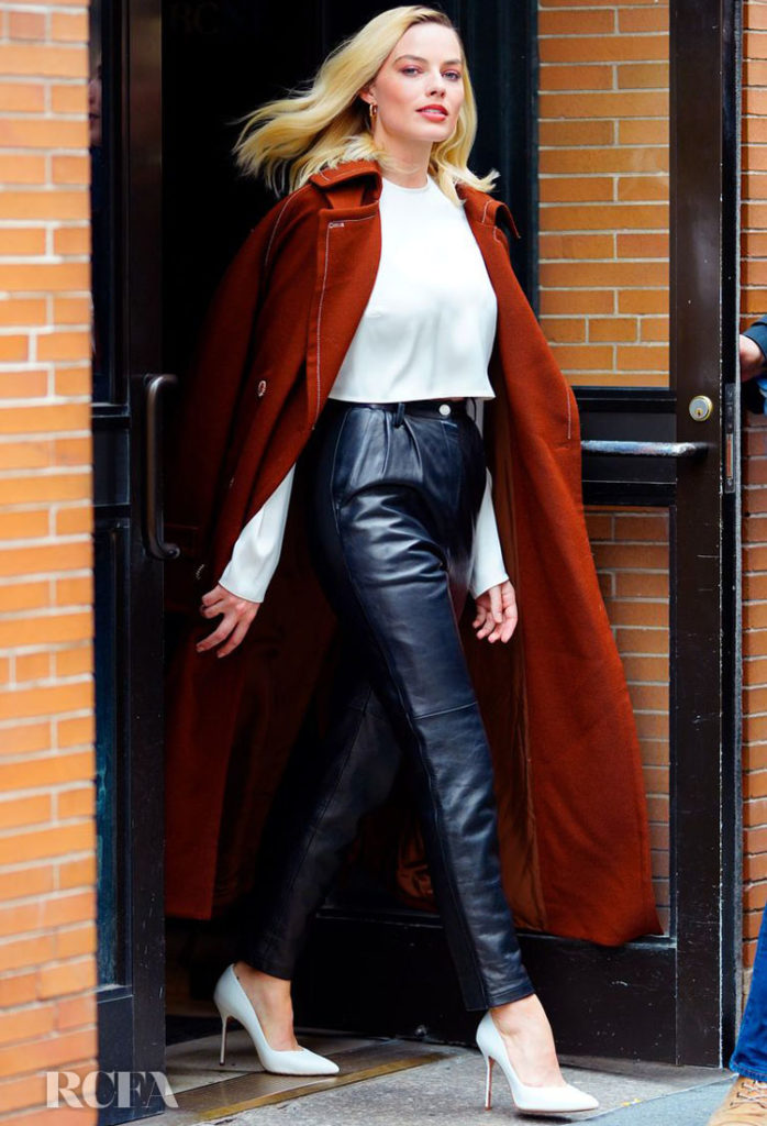 margot robbe in acne studios and Magda Butrym good morning america
