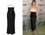 Cailee Spaeny's David Koma Embellished Cut-Out Satin Slip Dress
