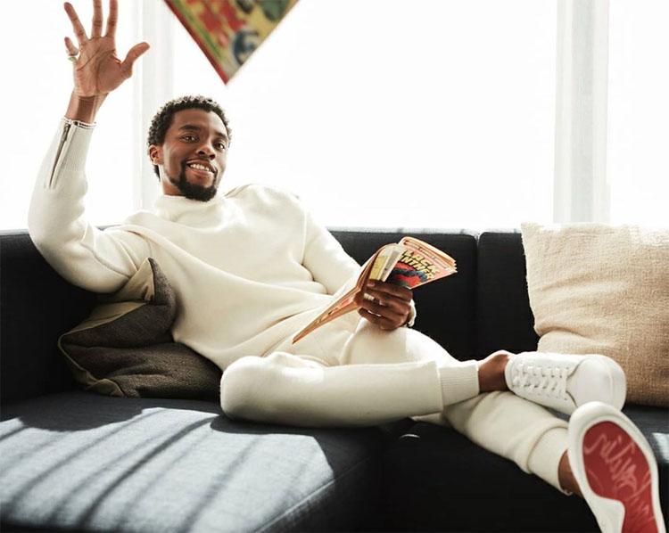 Chadwick Boseman At Home In Bottega Veneta