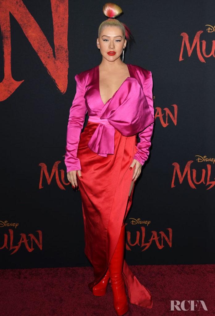 Christina Aguilera Wore Galia Lahav To The 'Mulan' World Premiere
