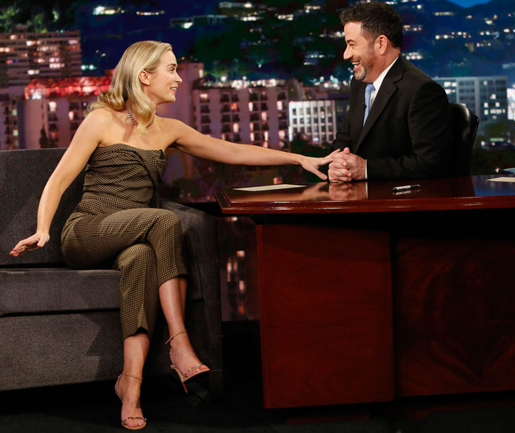 Emily Blunt Wore Christian Dior On Jimmy Kimmel Live