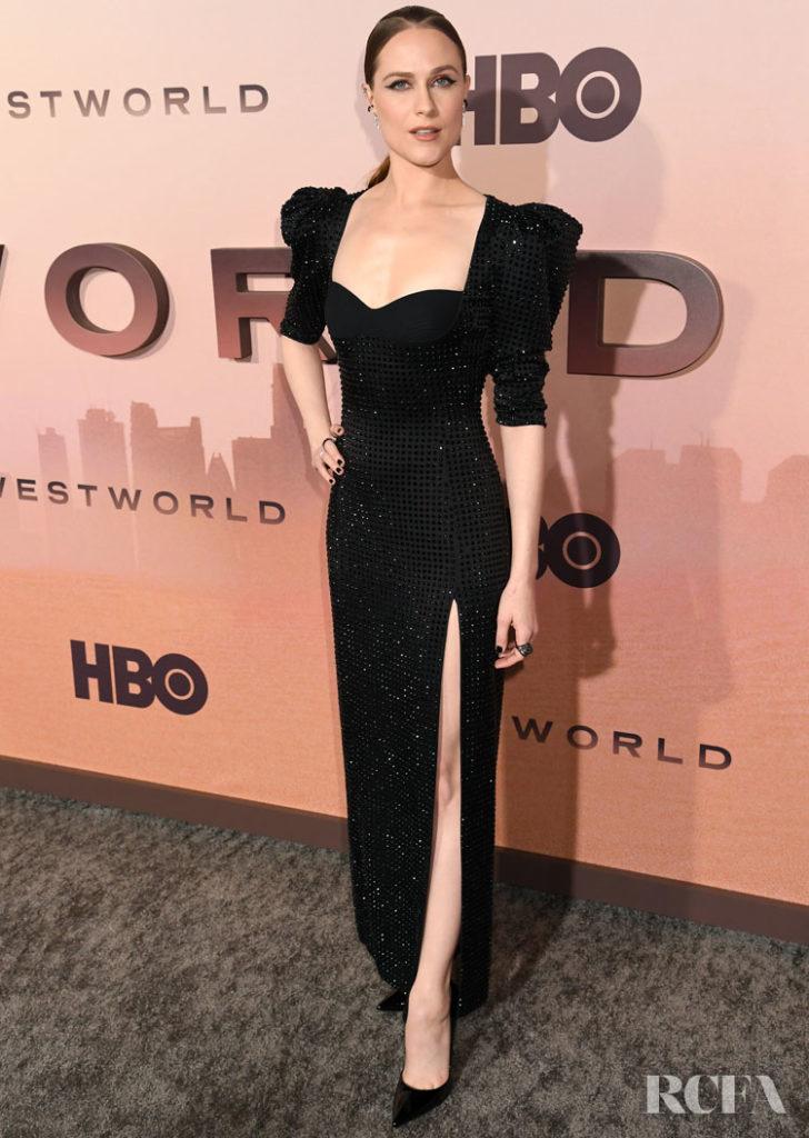 Evan Rachel Wood Wore Versace & Dorothee Schumacher To The 'Westworld' Season 3 LA Premiere & Press Day