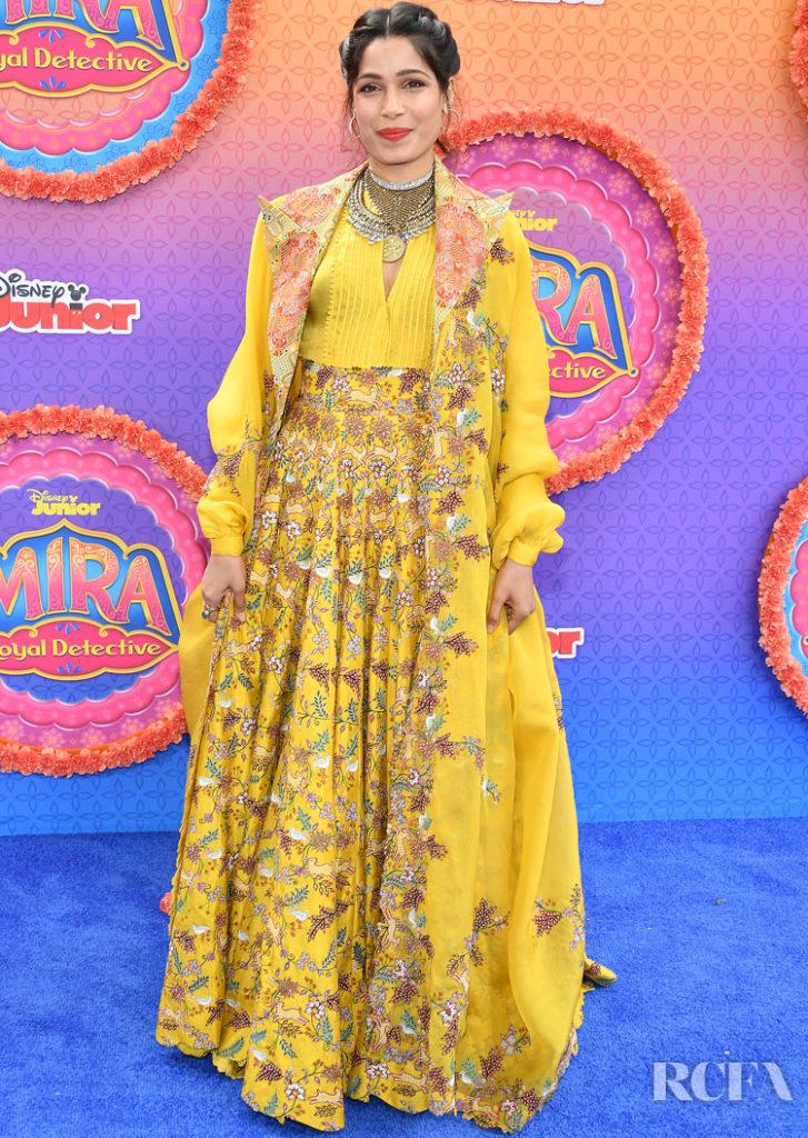 Freida Pinto Wore Anamika Khanna To The Premiere Of Disney Junior's 'Mira, Royal Detective'