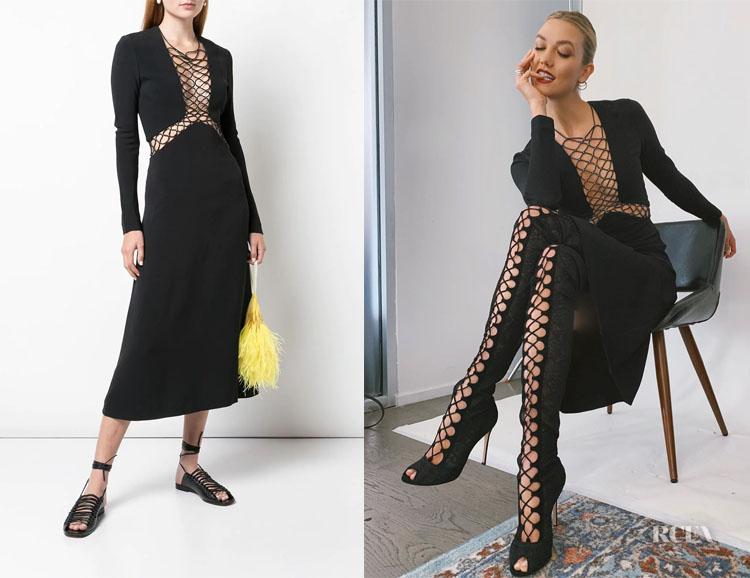 Karlie Kloss' Dion Lee Lace Up Detail Dress