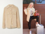 Kate Bosworth's Chloe Plush Ivory Loose Fit Shearling Jacket