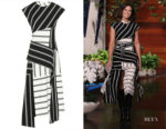Mandy Moore's Monse Black & White Striped Stretch-Jersey Dress
