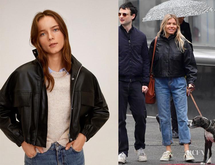 Sienna Miller's MANGO Pocket Leather Biker Jacket