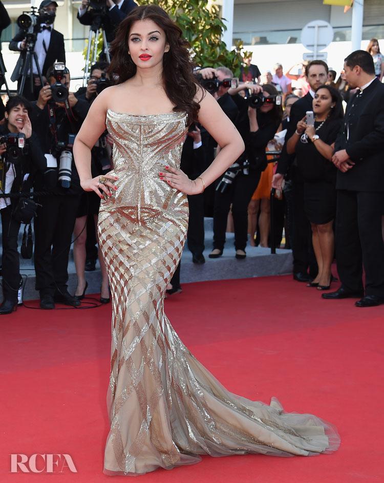 Aishwarya Rai 'Two Days, One Night' Deux Jours, Une Nuit Cannes Film Festival Premiere in Roberto Cavalli