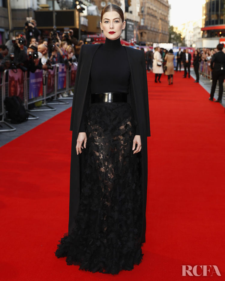 Clare Waight Keller's Most Memorable Moments For Givenchy - Rosamund Pike In Givenchy Haute Couture – 'A Private War' London Film Festival Premiere