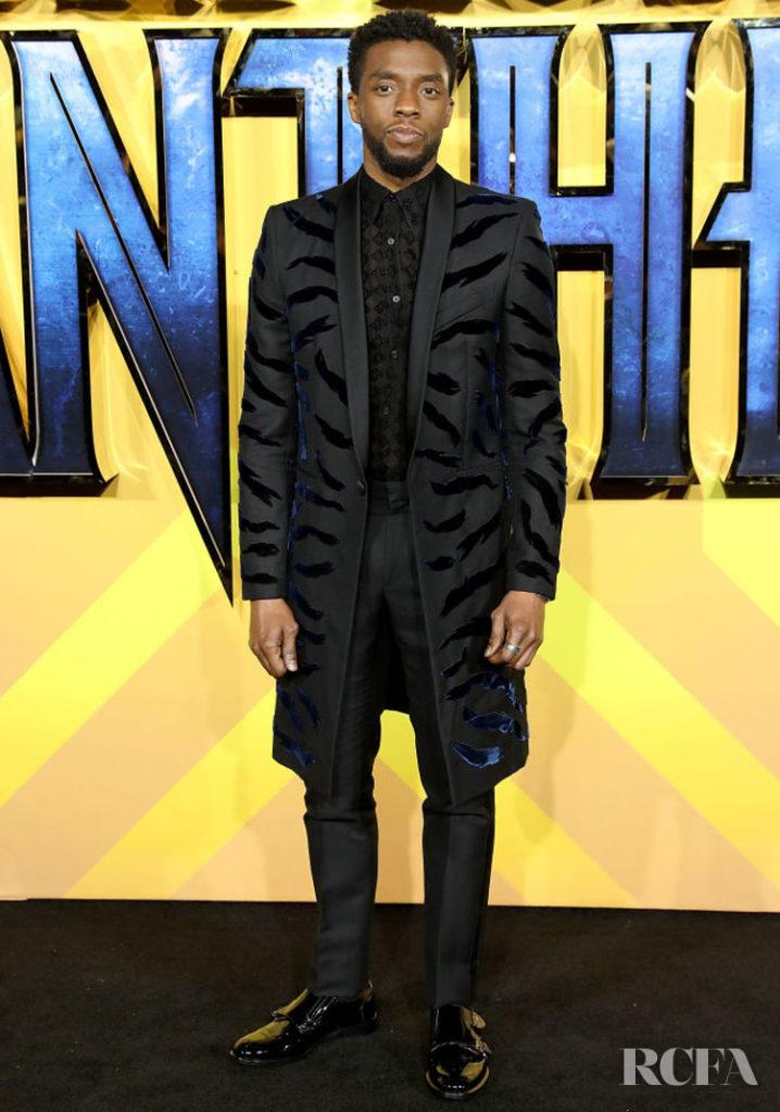 Chadwick Boseman In Givenchy - 'Black Panther' London Premiere Menswear
