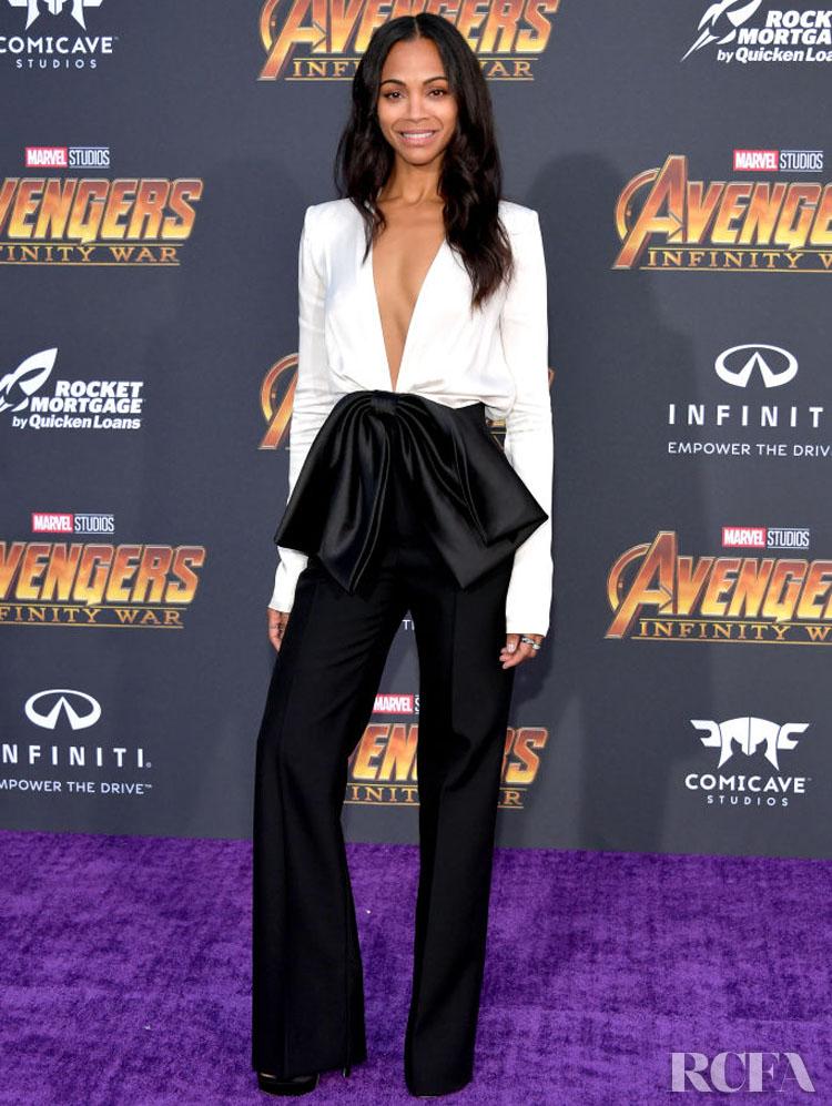 Zoe Saldana In Givenchy – 'Avengers: Infinity War' LA Premiere