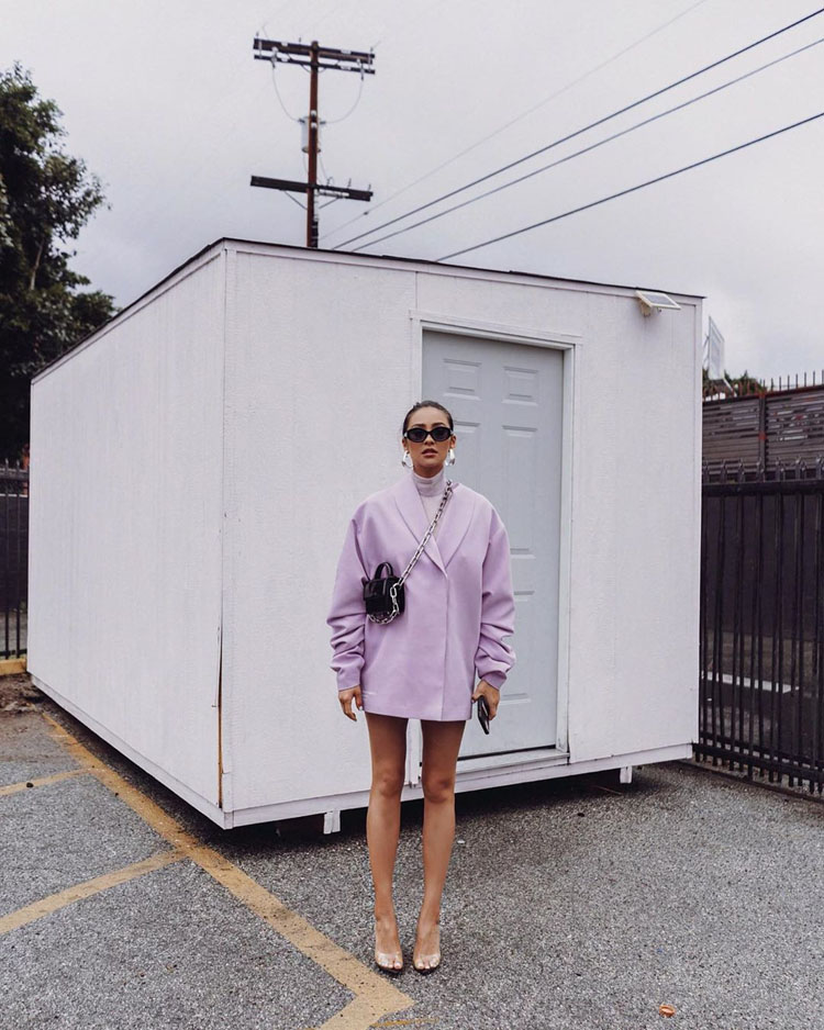 Shay Mitchell Dons A Mihano Momosa Lilac Blazer On Instagram