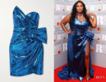 Lizzo's Dundas Strapless Ruched Sequined Crepe Mini Dress