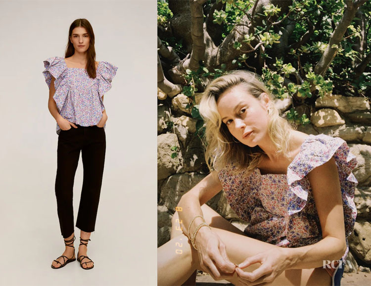 Brie Larson's MANGO Ruffle Floral Top