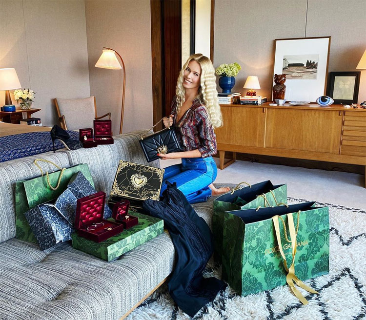 Claudia Schiffer Celebrates Her 50th Birthday in Dolce & Gabbana