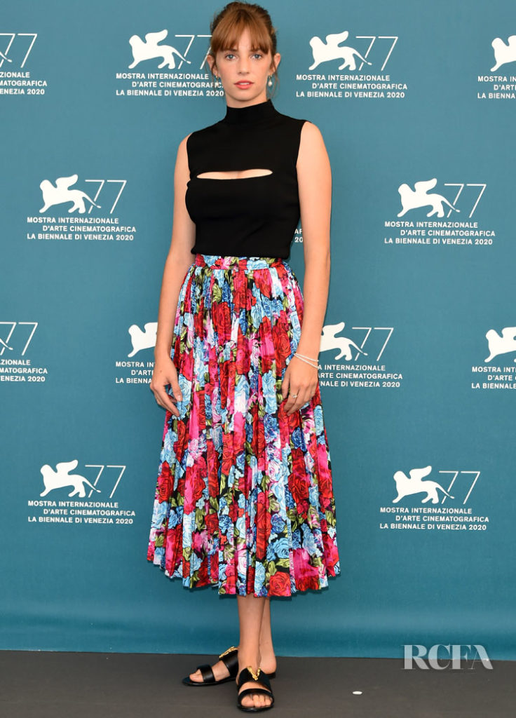 Maya Hawke in Versace - 'Mainstream' Venice Film Festival Photocall