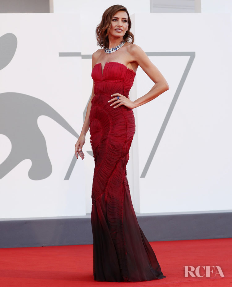 Nieves Alvarez Wore Red Alberta Ferretti 2020 Venice Film Festival