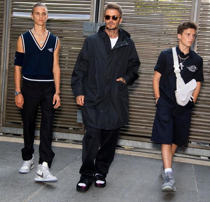 The Beckham Boys In Dior Men For Victoria Beckham's Spring 2021 Presentation