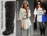 Khloe Kardashian's Wildfox Couture Love Sick Cowgirl Desert Fringe Hood Tee And Maison Martin Margiela Draped Wedge Pull On Boots